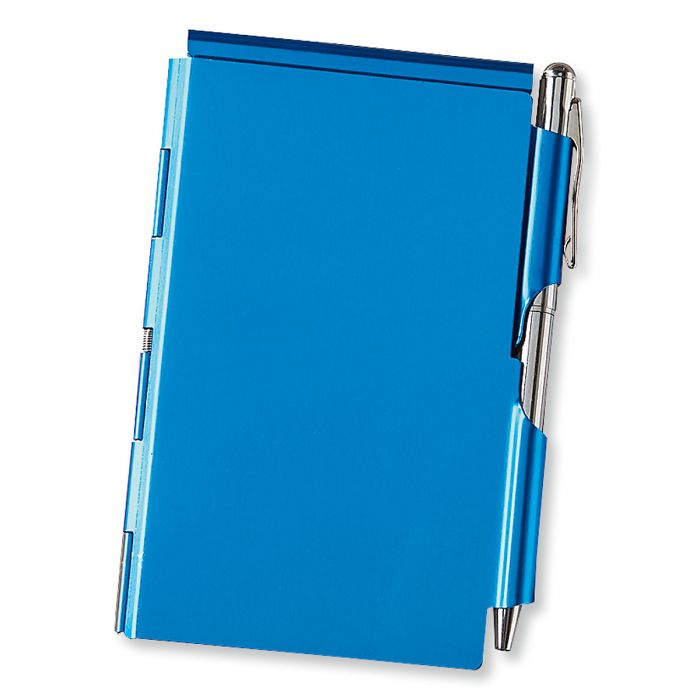 Blue Metal Note Holder with Pen