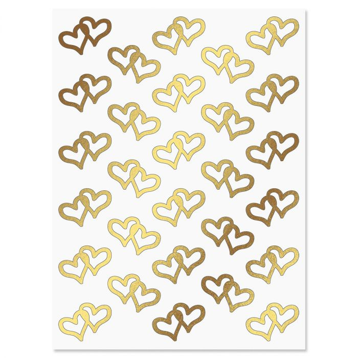Foil Linked Heart Stickers