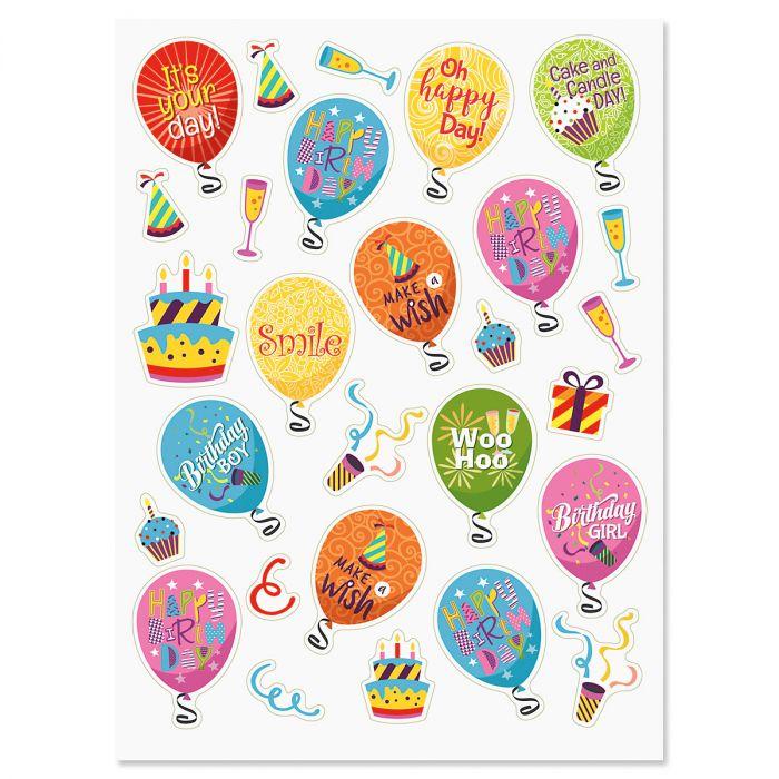 Birthday Balloons & Words Stickers