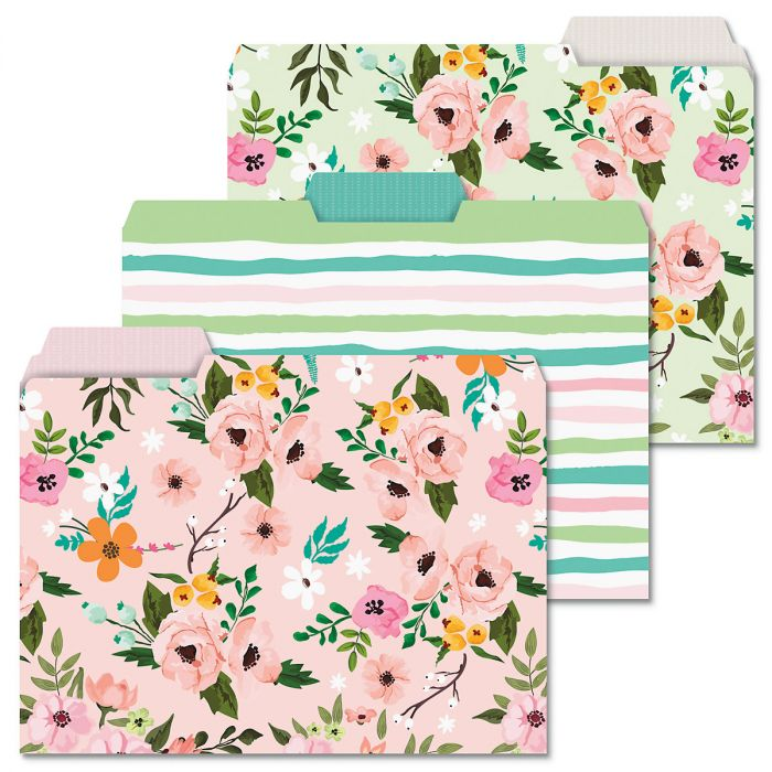 Painted Florals File Folders
