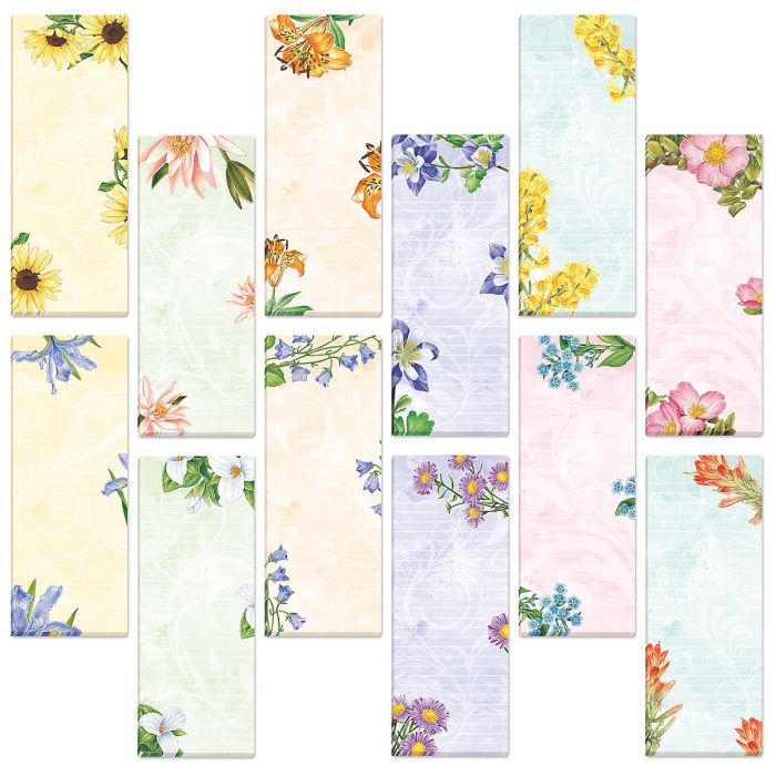 Floral Lined Magnetic Shopping List Pads