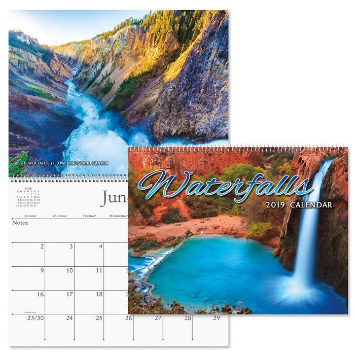 2019 Waterfalls Wall Calendar