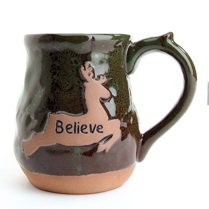 Believe Reindeer Ceramic Holiday Mug