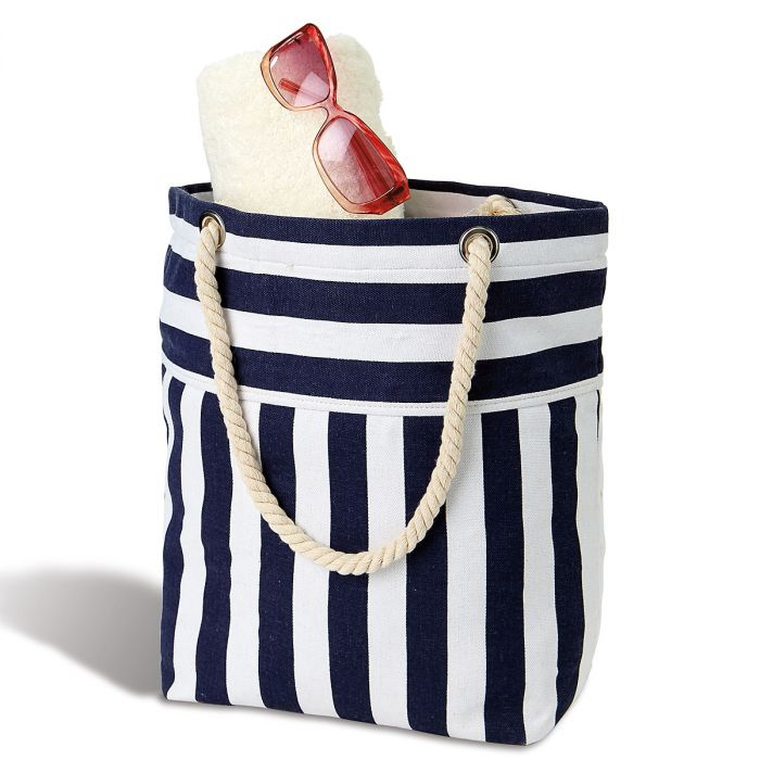 Navy White Striped Tote
