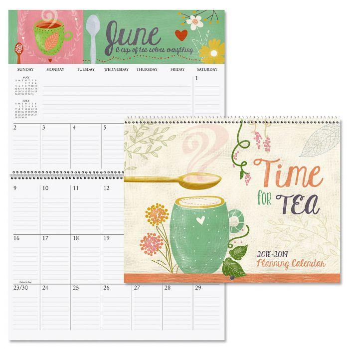 2019 Tea Time Big Grid 16-Month Planning Calendar