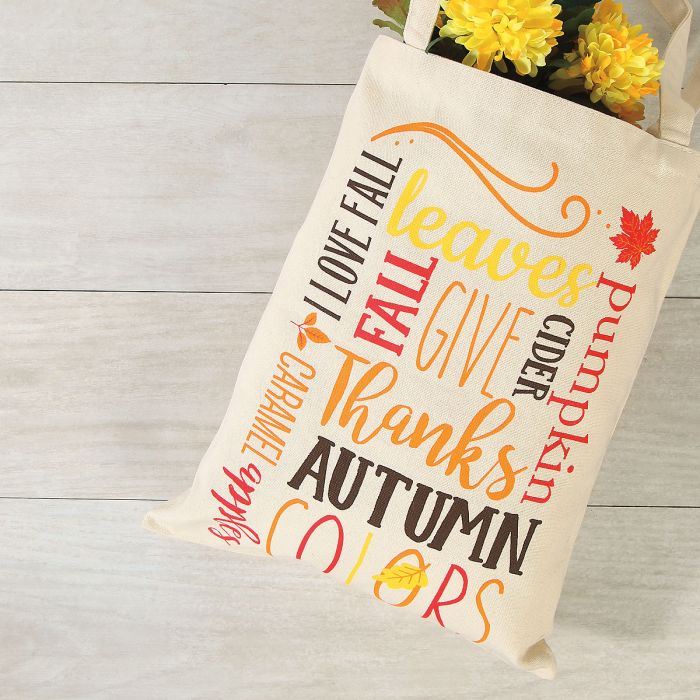 Autumn Words Canvas Tote
