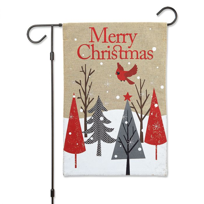 Cardinal & Trees Merry Christmas Garden Flag