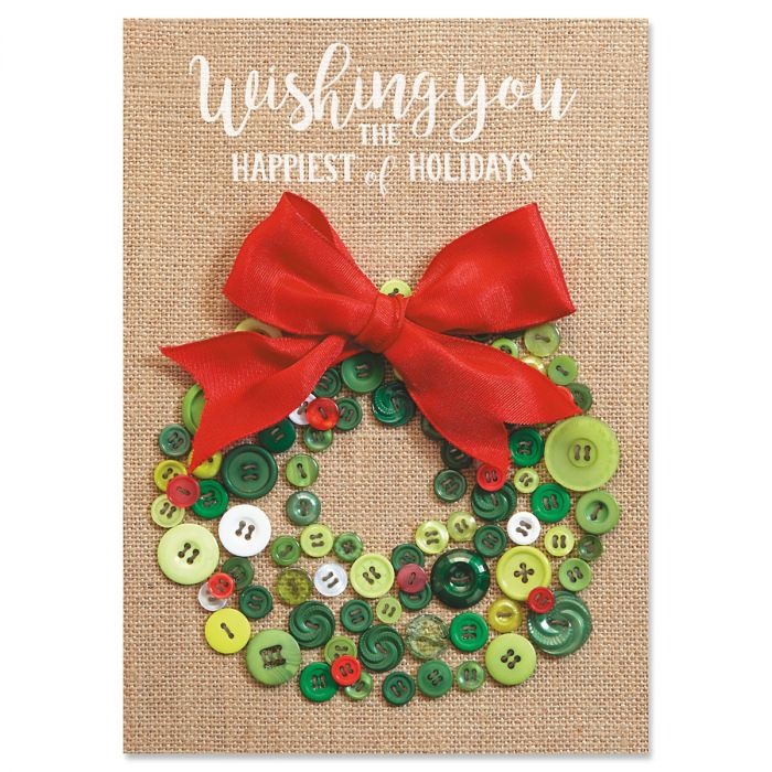 Button Wreath Christmas Cards