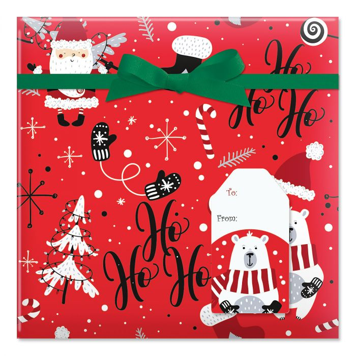 Ho Ho Santa Jumbo Rolled Gift Wrap and Labels