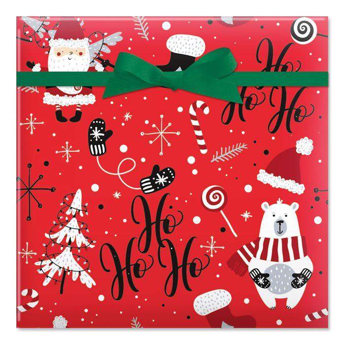Ho Ho Santa Jumbo Rolled Gift Wrap