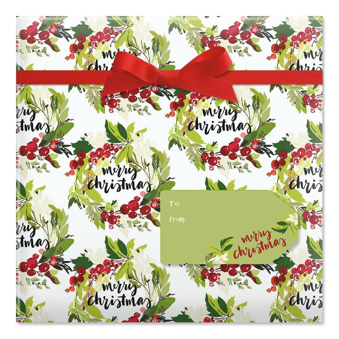 Christmas Wreaths Jumbo Rolled Gift Wrap and Labels