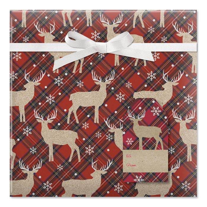 Woodland Deer Jumbo Rolled Gift Wrap and Labels
