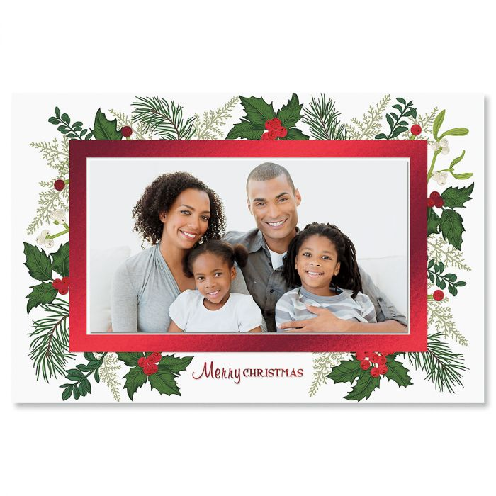 Deluxe Holly Photo Sleeve Christmas Cards