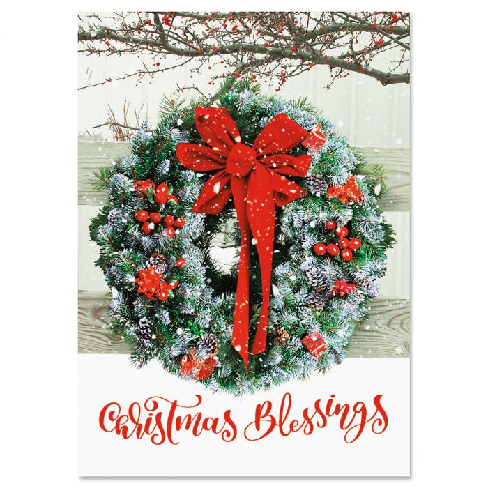 Wreath In Snow Christmas Cards - Nonpersonalized