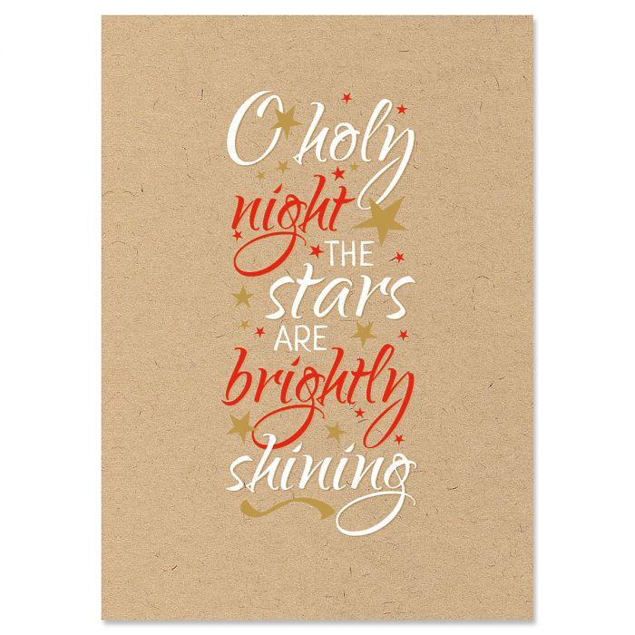 Kraft Holy Night Christmas Cards - Personalized