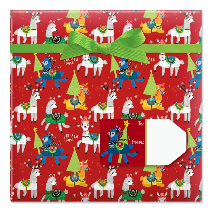 Merry Llamas Jumbo Rolled Gift Wrap and Labels