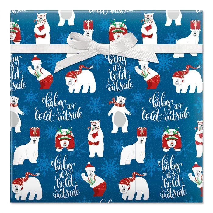 Christmas Polar Bears Jumbo Rolled Gift Wrap