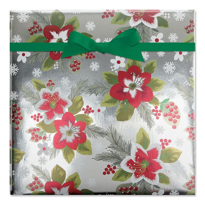 Botanical Poinsettias Foil Rolled Gift Wrap