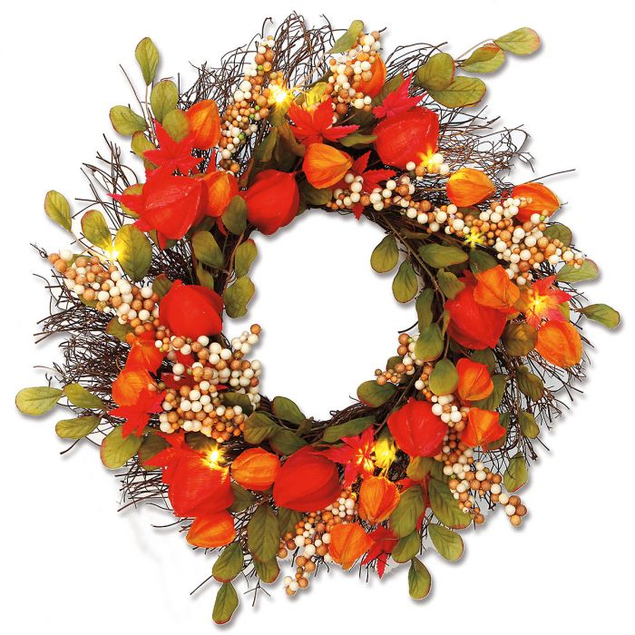 Lighted Lantern Flower Wreath