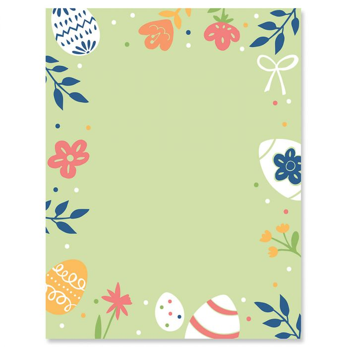 Egg and Flowers Easter Letter Papers