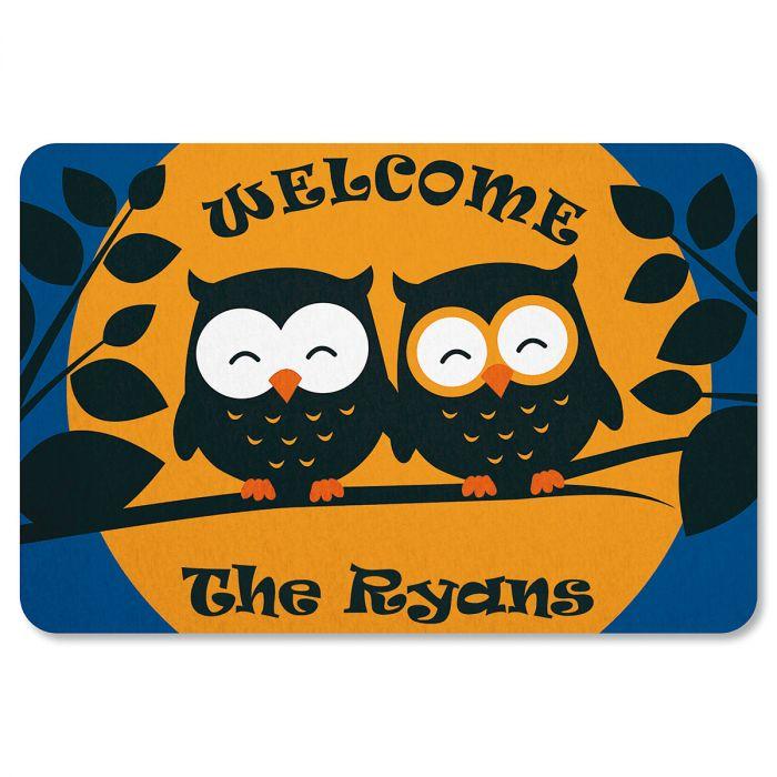 Halloween Owls Personalized Doormat