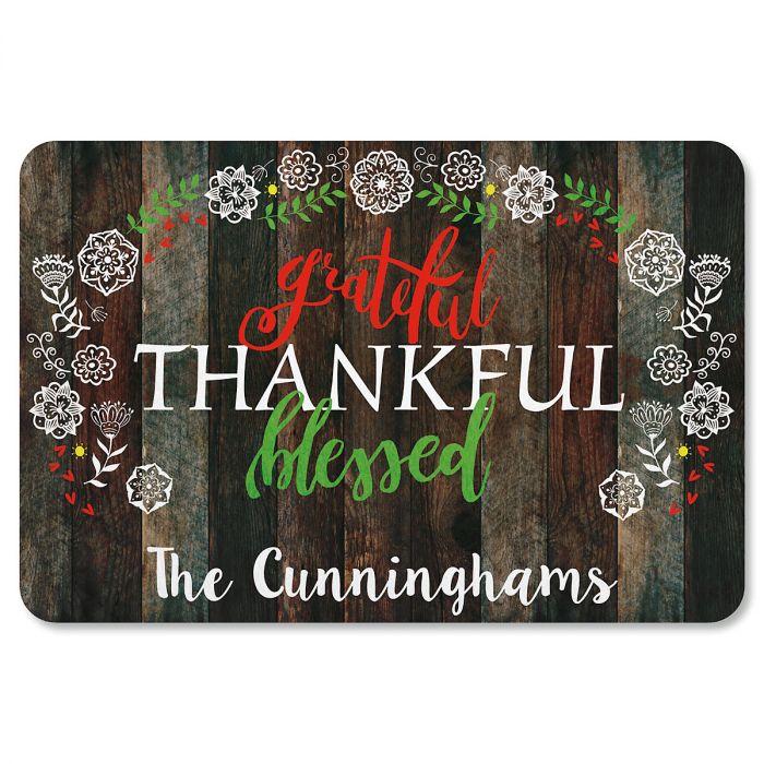 Grateful Personalized Thanksgiving Doormat