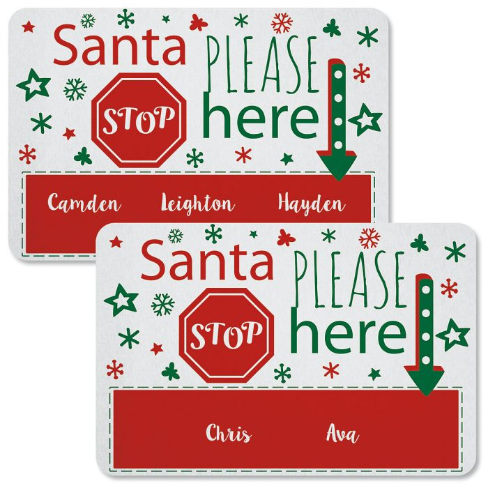 Santa Stop Here Personalized Christmas Doormats