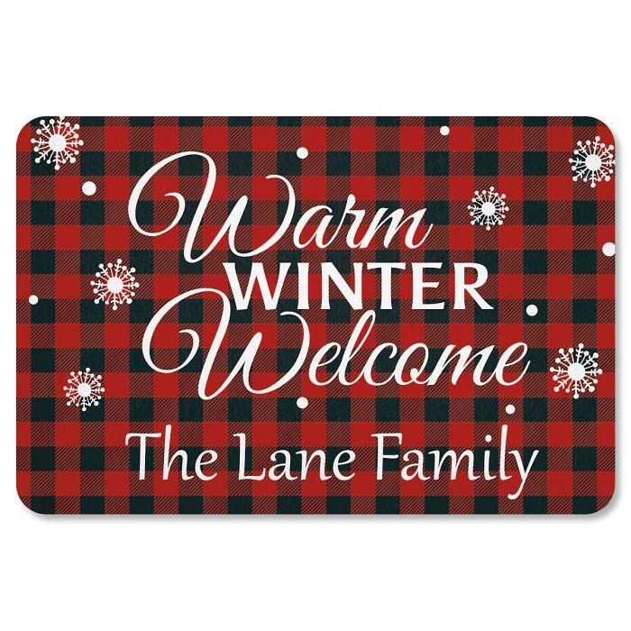 Buffalo Plaid Personalized Christmas Doormat