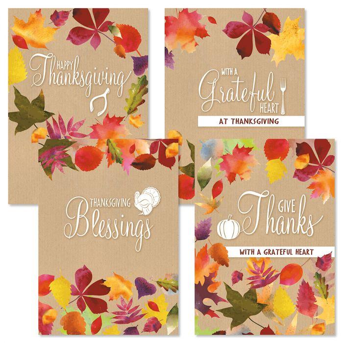 Modern Kraft Thanksgiving Cards