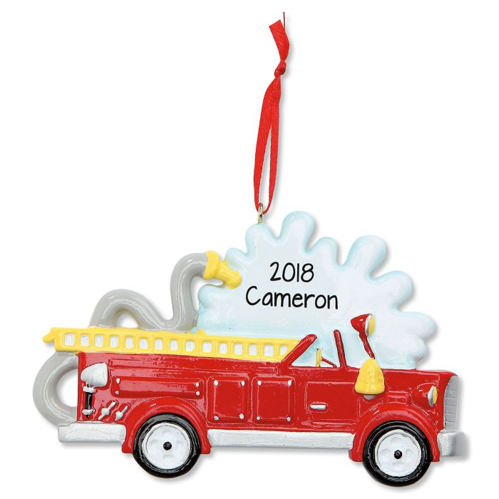 Fire Truck Personalized Christmas Ornament