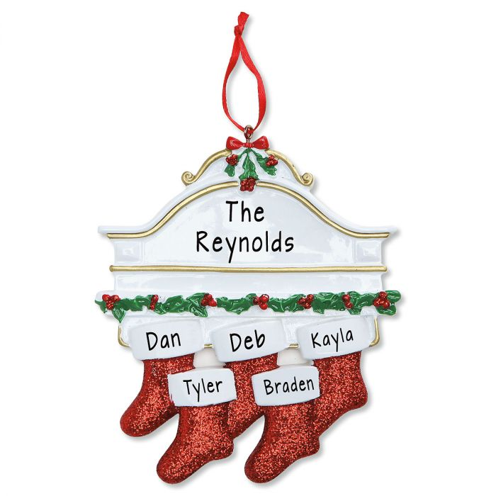 Stockings on Mantel Personalized Christmas Ornament