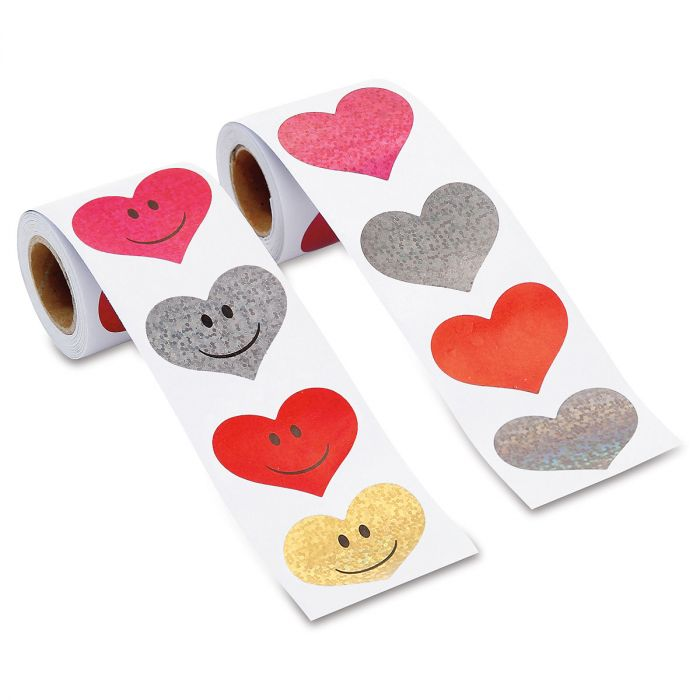 Prismatic Heart Stickers on 2 Rolls - BOGO