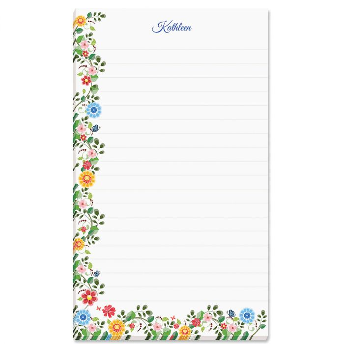 Spring Floral Personalized Lined Notepad