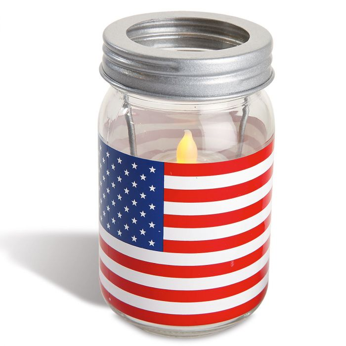 Flag Patriotic Jar Candle Holder