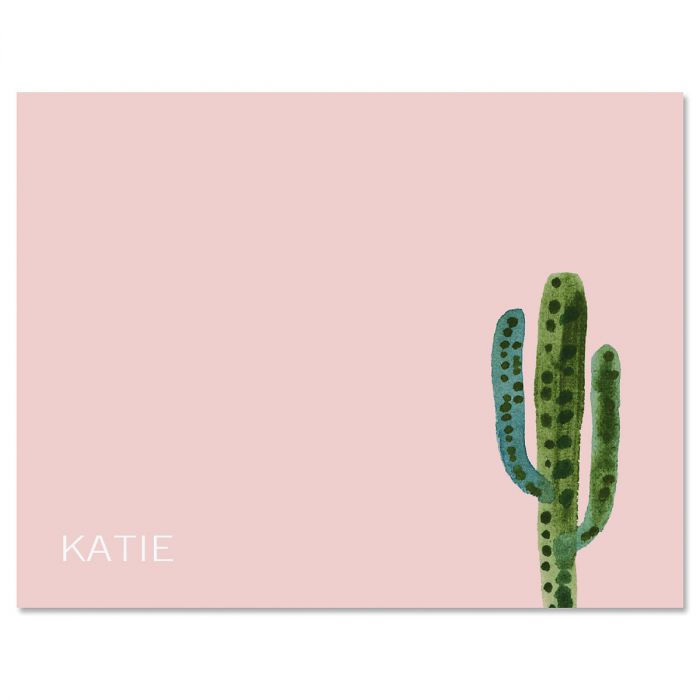 Watercolor Cactus Personalized Initial Note Cards
