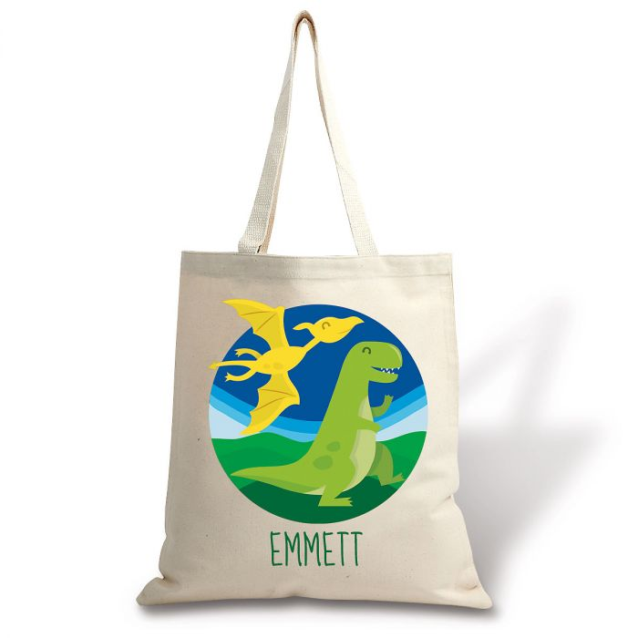 Dinosaur Personalized Canvas Tote