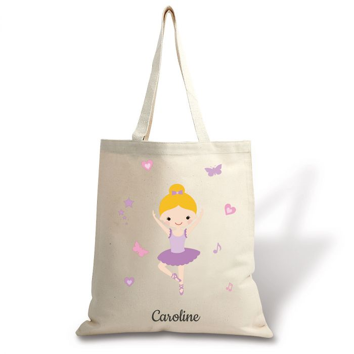 Blonde Ballerina Personalized Canvas Tote