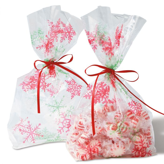 Snowflake Cello Bags with Ties