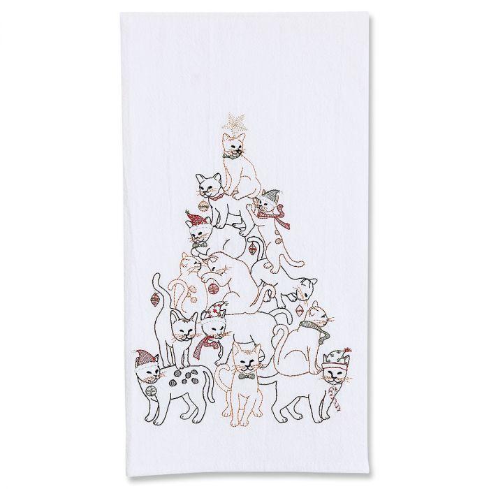 Cat Christmas Tree Towel