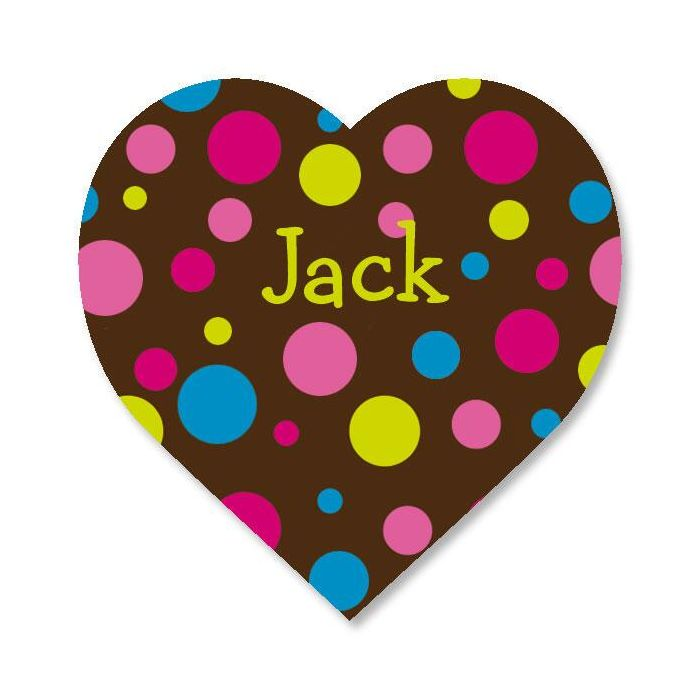 Personalized Dots Heart Stickers