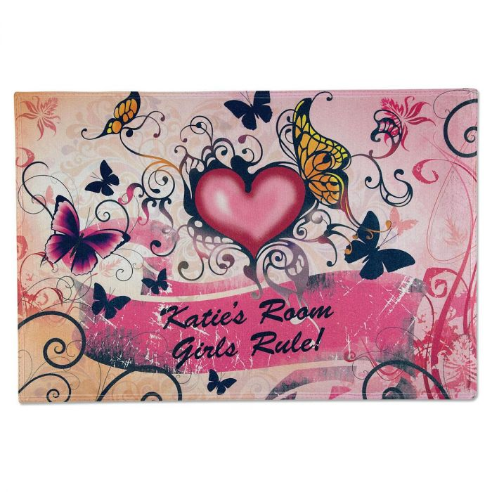 Hearts & Flowers Personalized Welcome Doormat