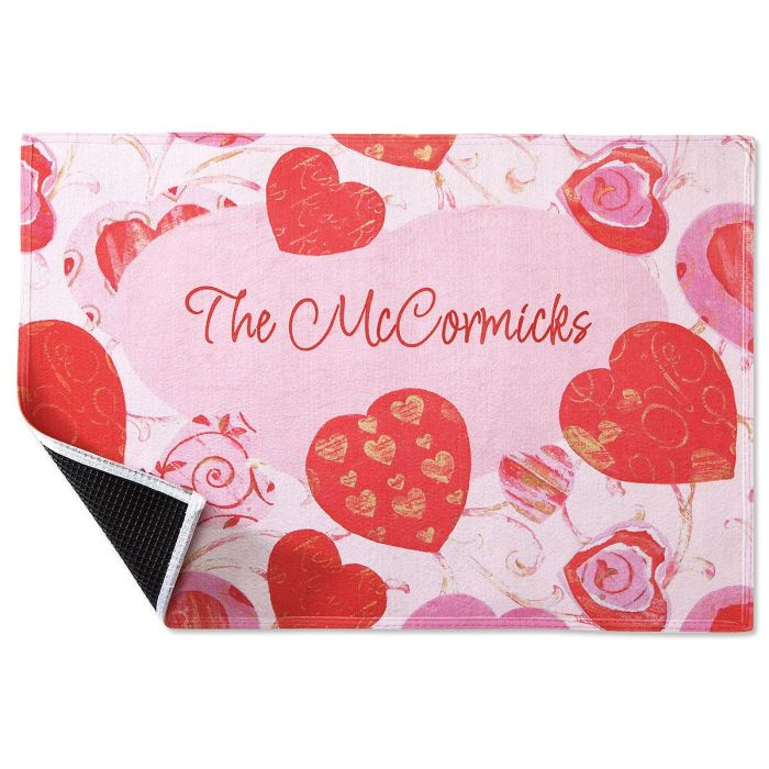Valentine Swirls Personalized Welcome Doormat