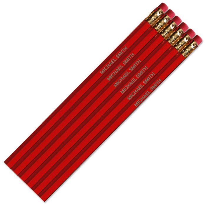 Dark Red #2 Hardwood Personalized Pencils