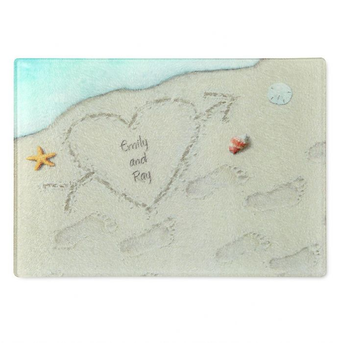Heart in the Sand Tempered Glass Cutting Board