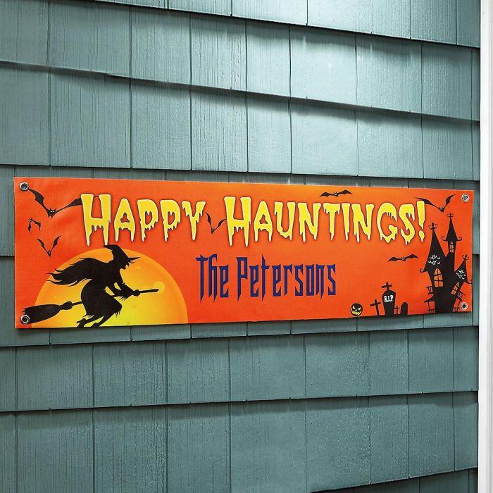 Happy Hauntings Outdoor Canvas Banner