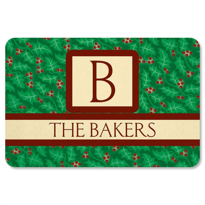 Holly Monogram Personalized Welcome Doormat