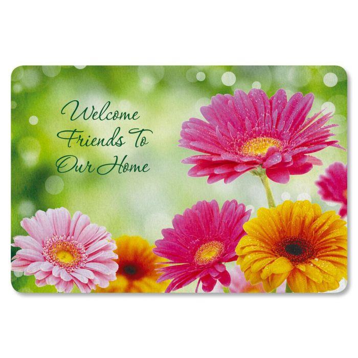Gerbera Daisy Personalized Welcome Doormat