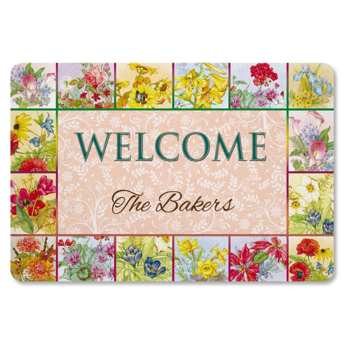 Beautiful Flowers Personalized Welcome Doormat