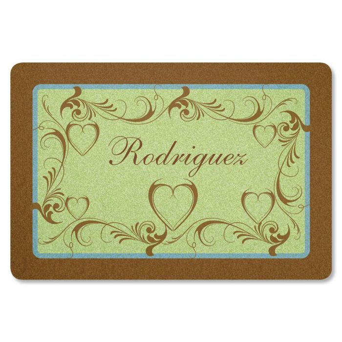 Heart and Scroll Personalized Welcome Doormat