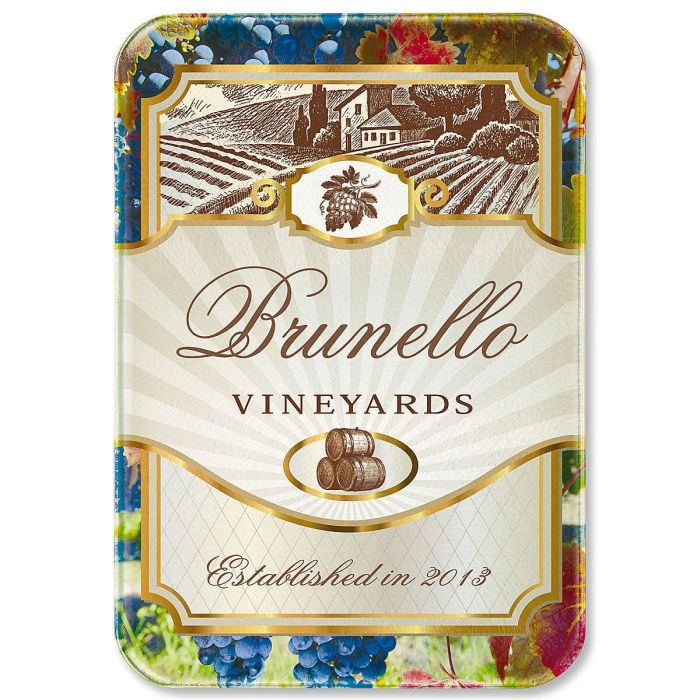 Wine Label Tempered Glass Cutting Board